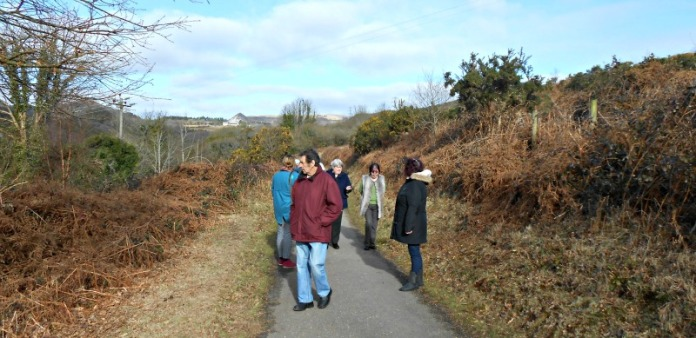 group walking on the clay trails