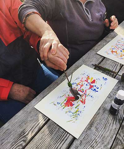 Painting with nature activity
